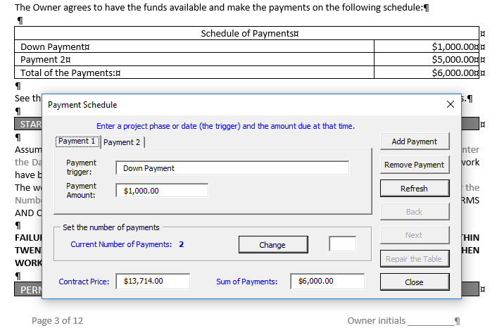 Payment Schedule form in VBA